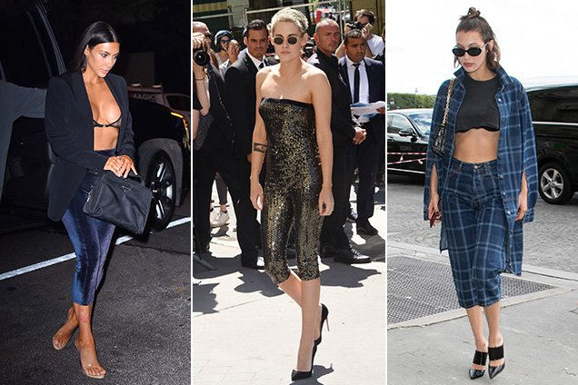 Kim K, K Stew and Bella Hadid in pedal pushers/bike shorts/extremely cropped pants/whatever you want to call 'em.