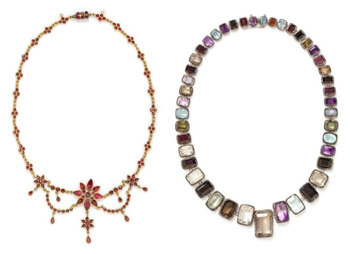 Two antique necklaces from the upcoming Leslie Hindman April Jewelry auction.