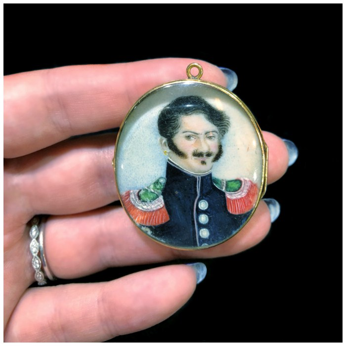 An early Victorian ivory portrait locket from 1840. The back says 'Bernadotte.' At The Spare Room Antiques.