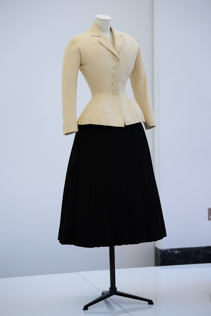Christian Dior (1905-57), Bar Suit, Haute Couture, Spring/Summer 1947, Carolle Line on display at a press conference for the Christian Dior: 'Designer Of Dreams' exhibition at Victoria and Albert Museum