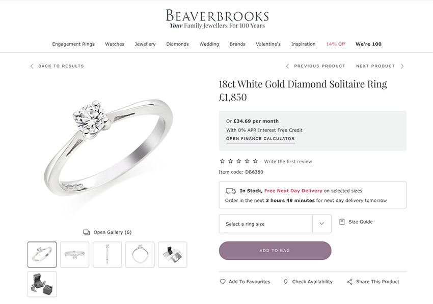 Beaverbrooks engagement ring average price