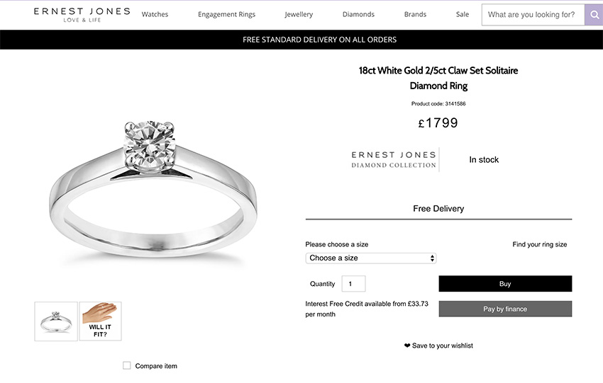 Ernest Jones comparison engagement ring