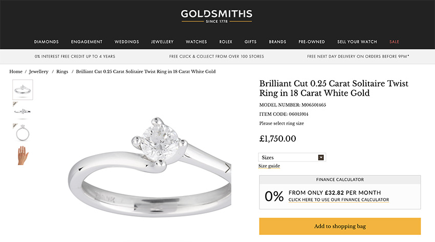 Goldsmiths average engagement ring price