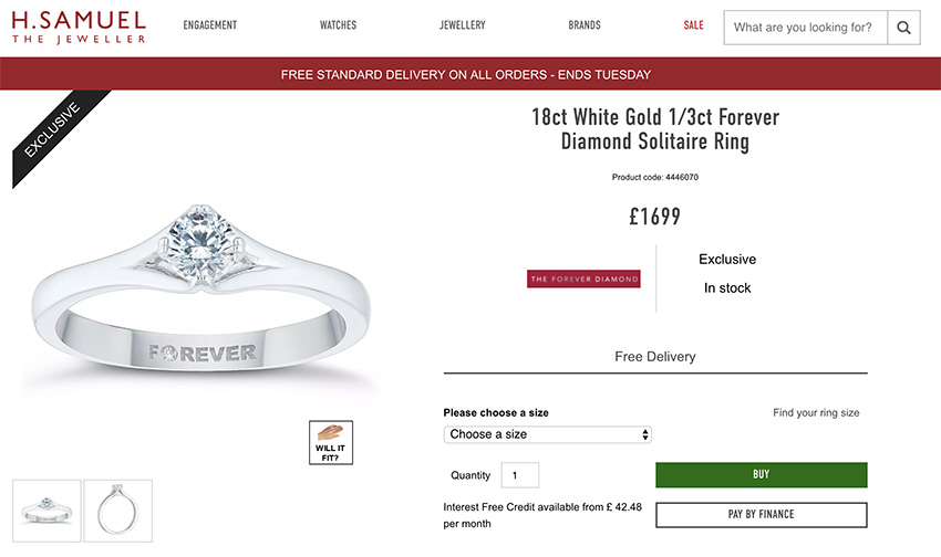 H Samuel comparison engagement ring cost