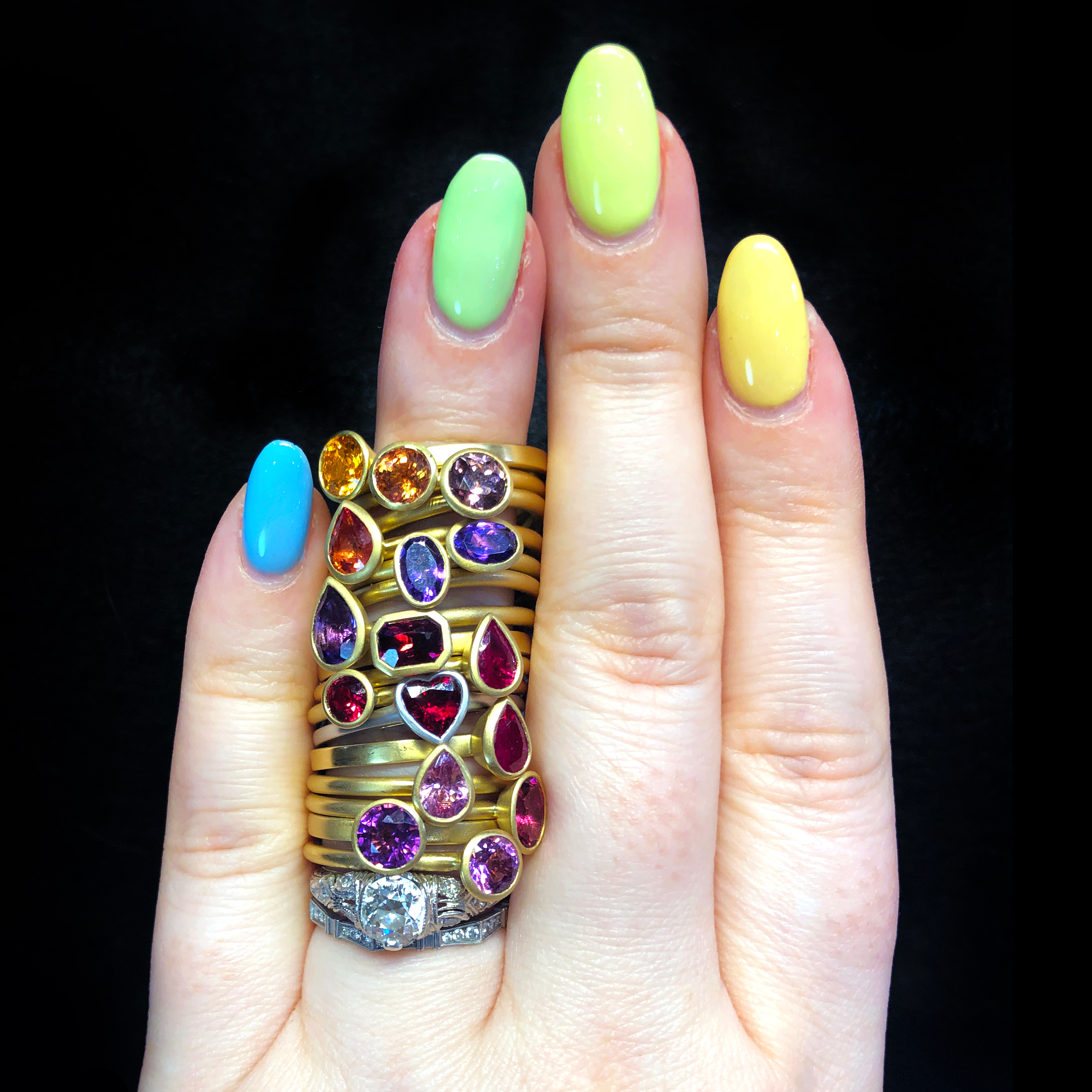 Beautiful colored gemstone rings in gold from Kimberly Collins Colored Gems.