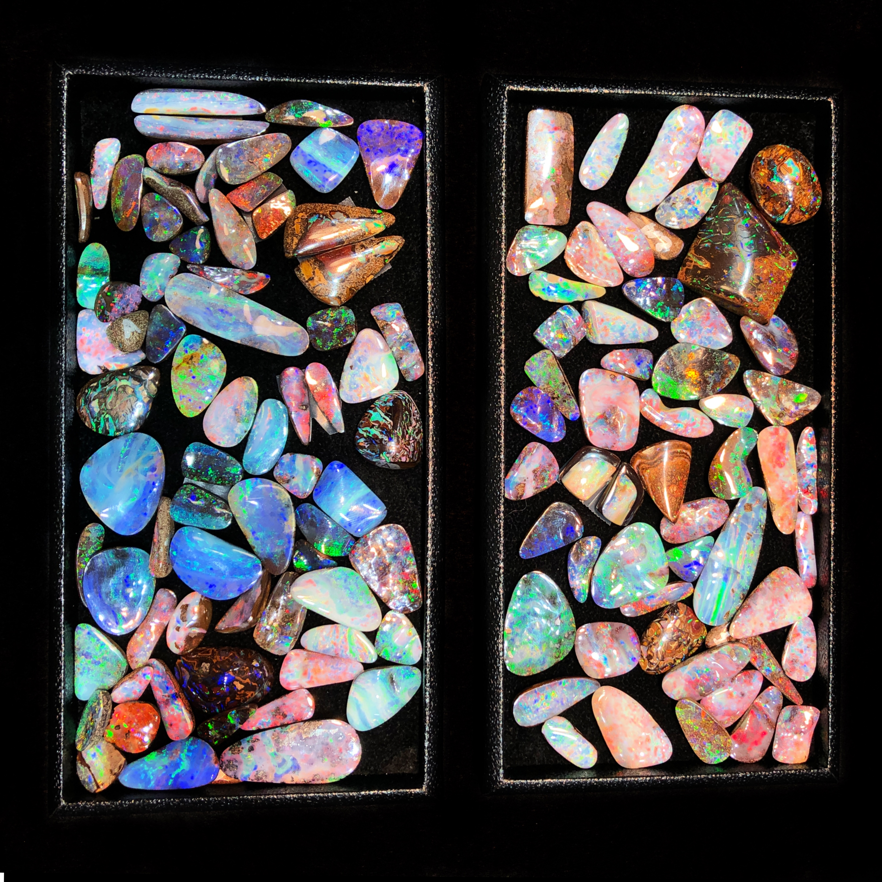 Beautiful opals from Parle Gems! Spotted at the AGTA GemFair 2019.