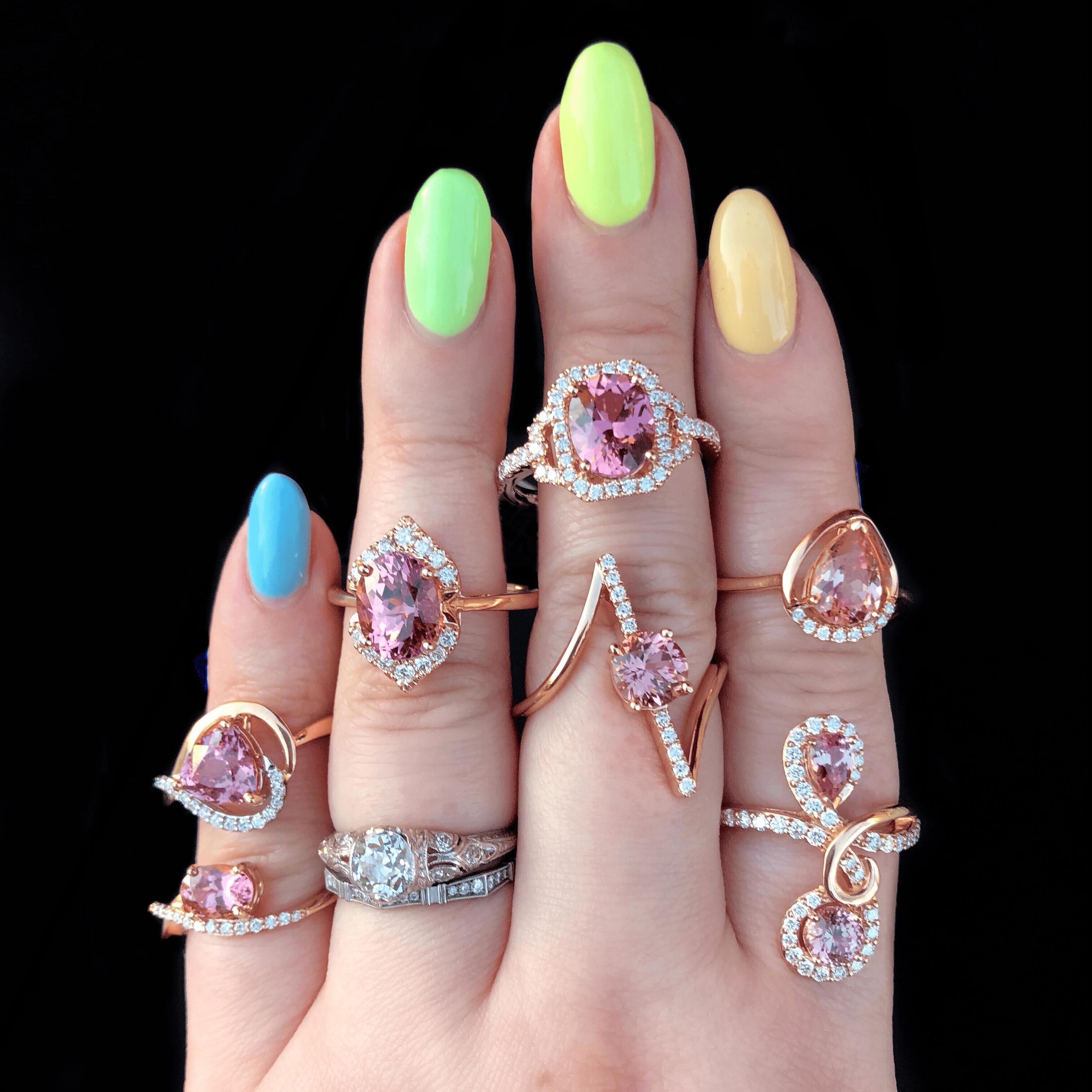 Beautiful pink lotus garnet and diamond rings by Parle Gems!
