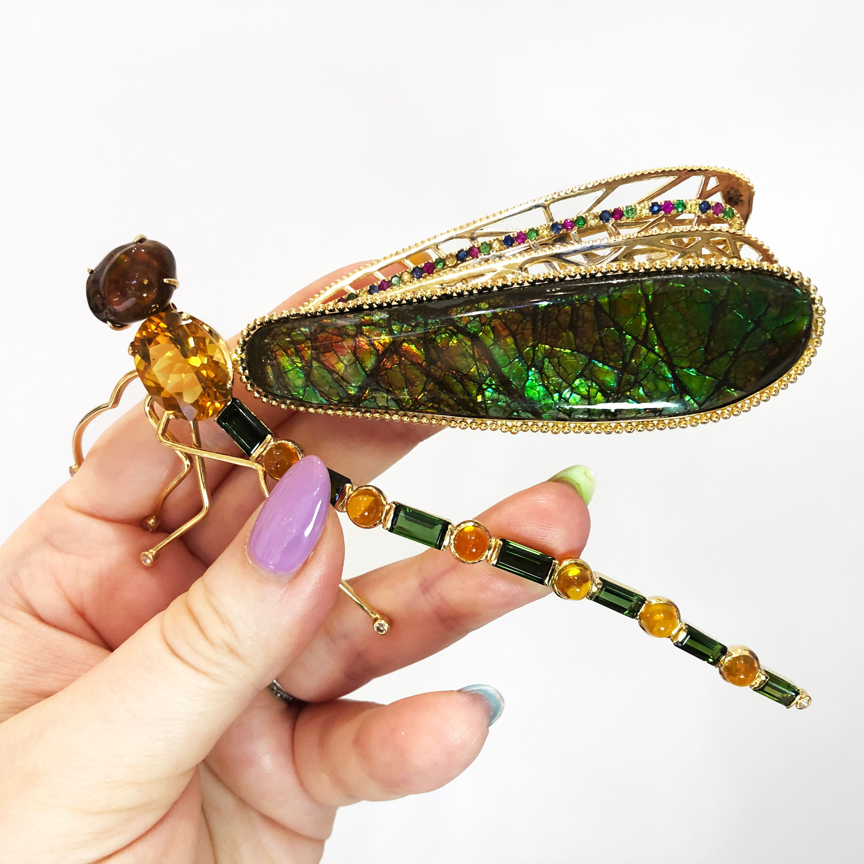 I love this dragonfly brooch by Brenda Smith Jewelry! With glorious opals and gemstones in gold..
