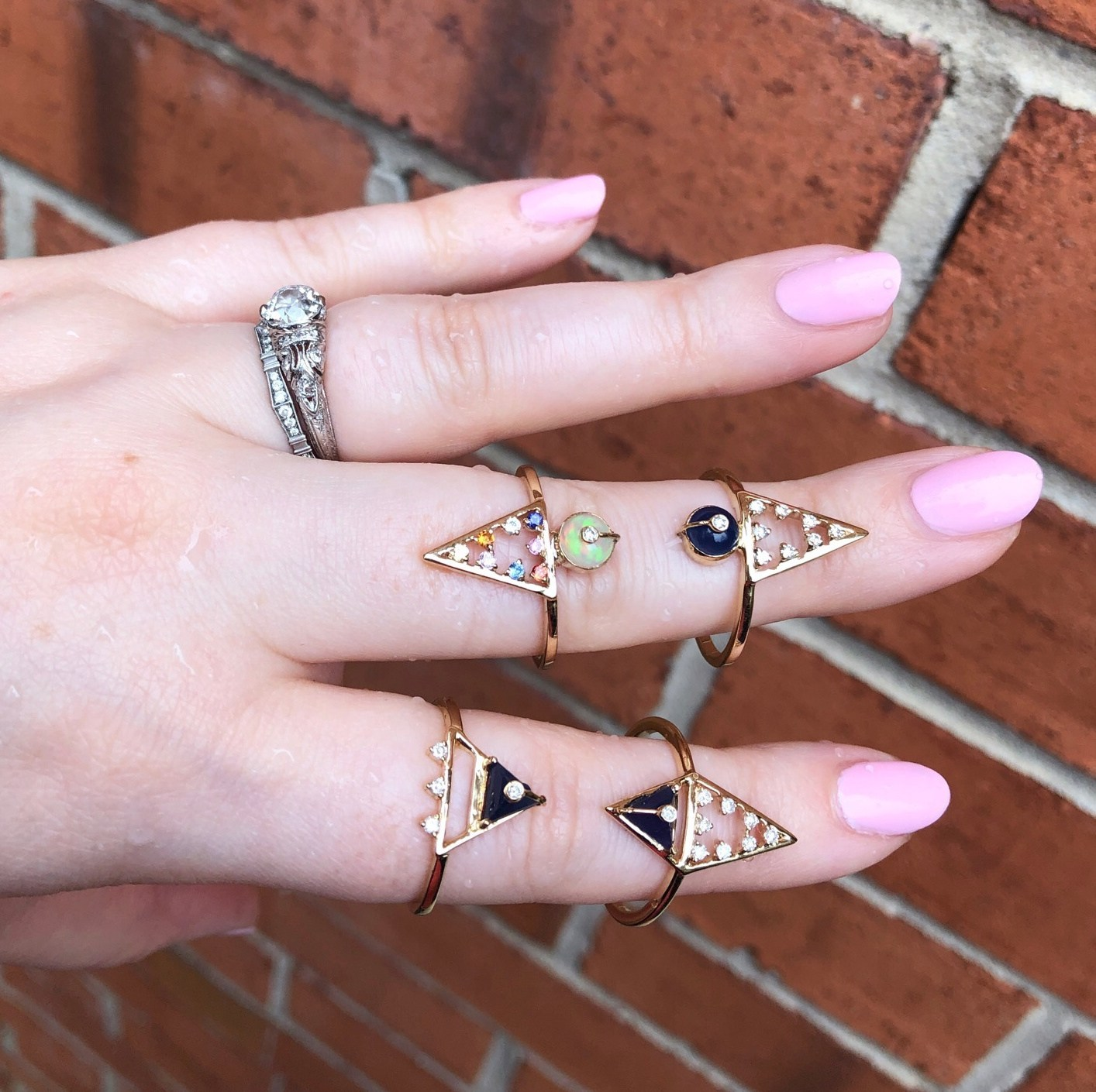 Beautiful rings from Loriann Jewelry's new Moderne collection. Diamonds, sapphires, lapis, and opals in gold.