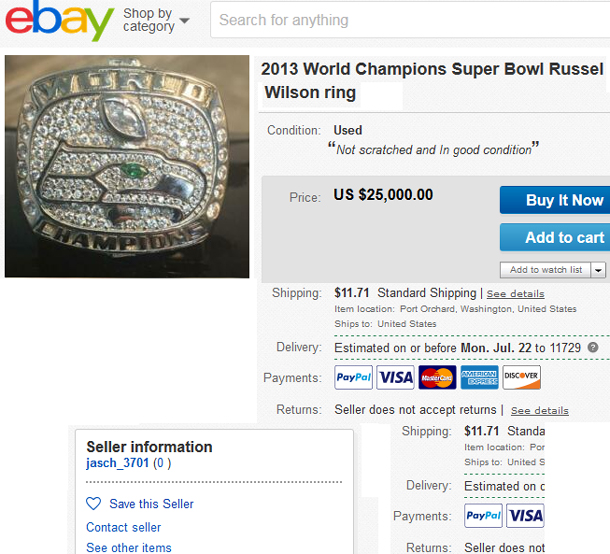 Russell wilson Super Bowl ring for sale on ebay