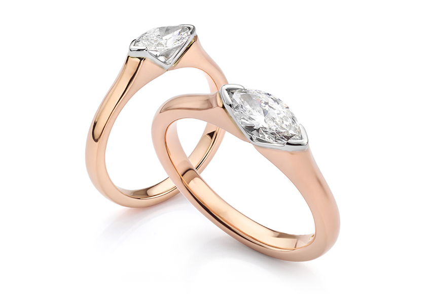 Rose Gold Atlantis engagement ring with East West Diamond Setting