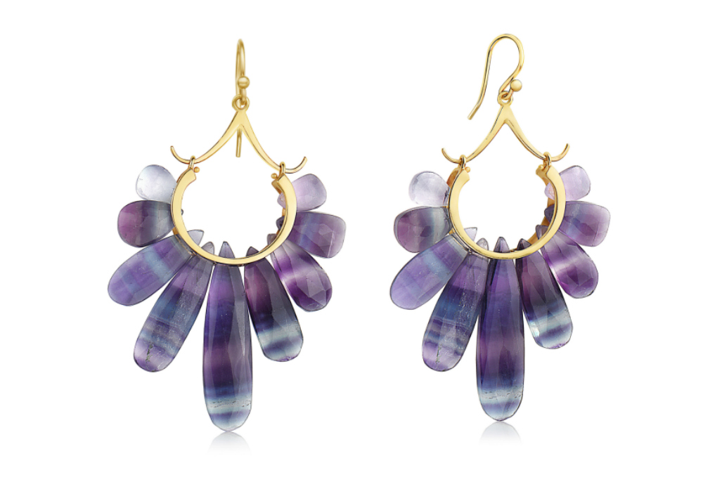Flourite and gold earrings from the Rachel Atherley Peacock collection.