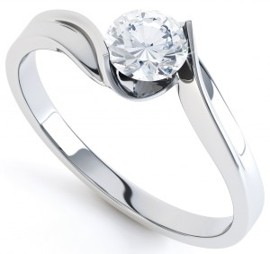 Tension Style Twist Engagement Ring