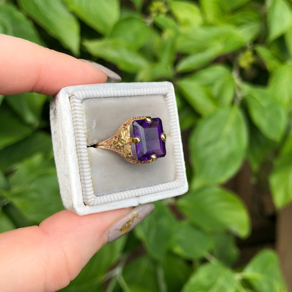 A beautiful vintage amethyst ring from the 1930's. Art Deco era and utterly lovely.