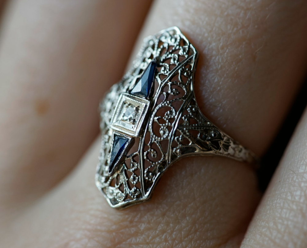 Art Deco era ring with synthetic sapphires and a diamond. Circa 1920's. From my personal jewelry collection, now for sale.