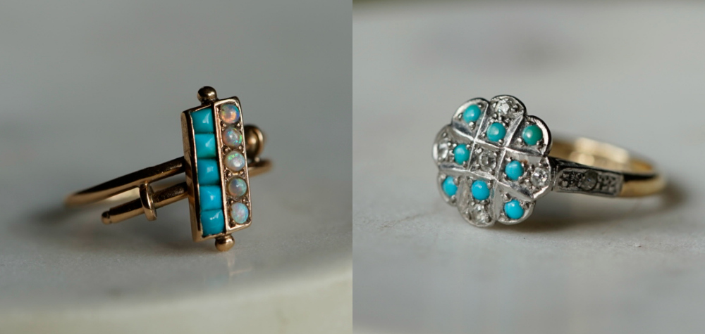 Two antique turquoise rings from my personal jewelry collection, now for sale. One with diamonds, one with opals.