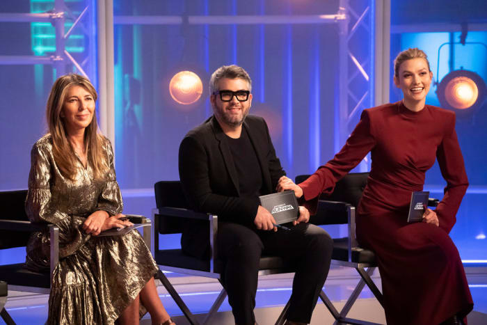 Nina Garcia, Brandon Maxwell and Karlie Kloss on the set of 'Project Runway.'