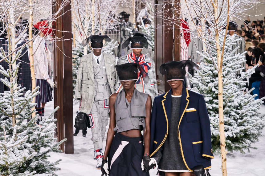 Looks from Thom Browne's Fall 2020 collection. Photo: Imaxtree