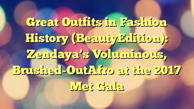 Great Outfits in Fashion History (BeautyEdition): Zendaya's Voluminous, Brushed-OutAfro at the 2017 Met Gala