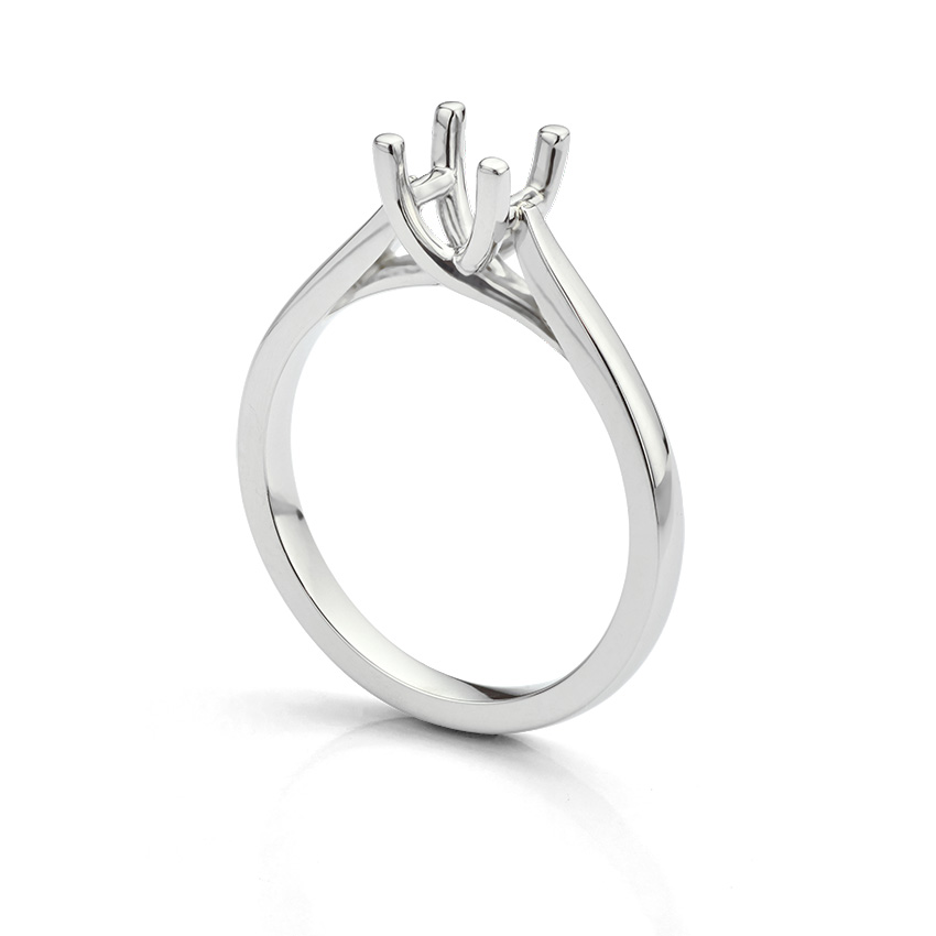 Engagement ring setting with four prongs and no diamond