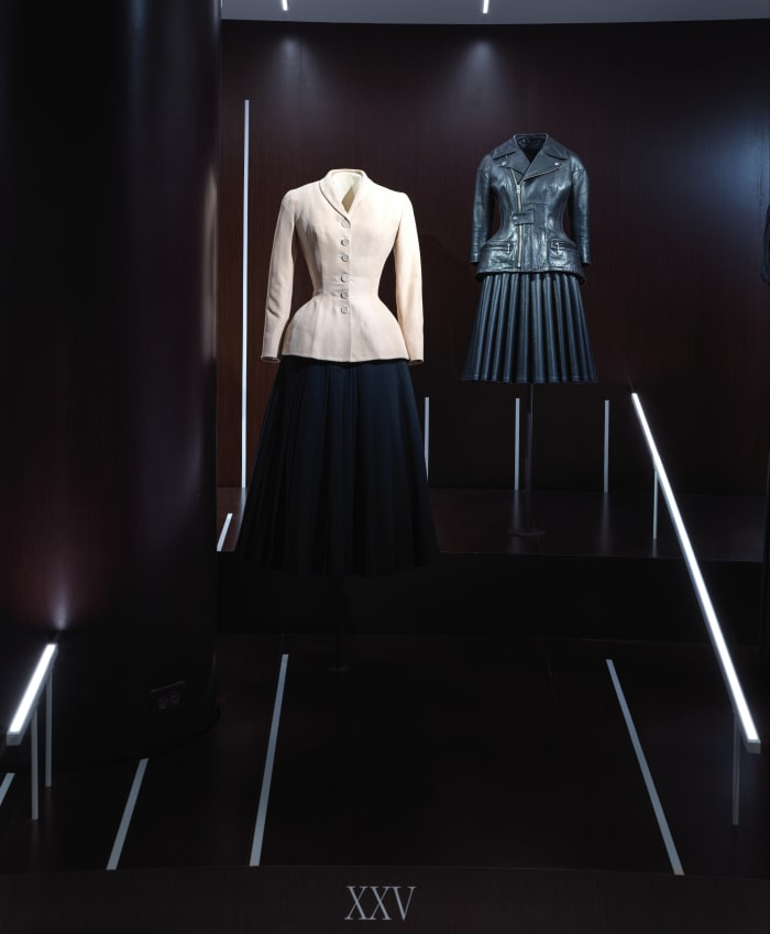 A Christian Dior ensemble from 1947, left, and a Junya Watanabe ensemble from 2011, right.