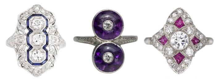 Art Deco era gemstone rings from sellers on Ruby Lane.