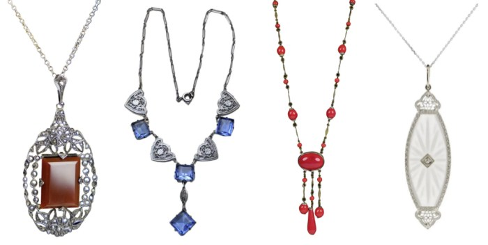 Art Deco era necklaces from Ruby Lane.