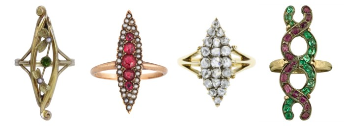 Four antique rings from sellers on Ruby Lane. I love this elongated navette shape!