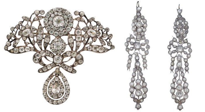 Two exquisite examples of antique paste jewelry from sellers Glorious Antique Jewelry and Antique Jewellery Group on Ruby Lane.