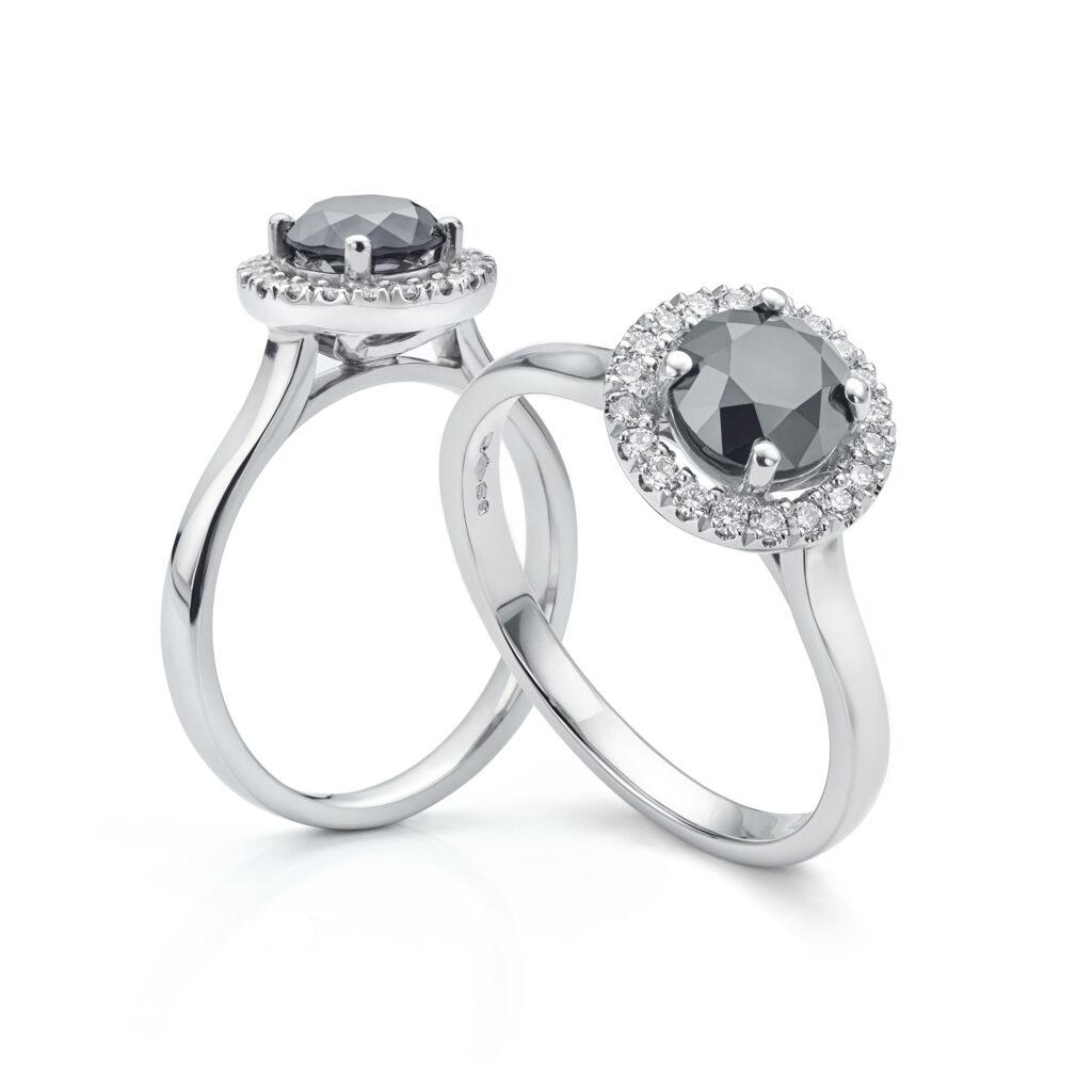 Noir black diamond halo ring