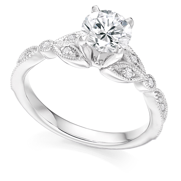 Maple Leaf Diamond Engagement Ring