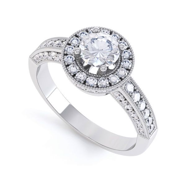 Lacey Vintage Styled Diamond Halo Design
