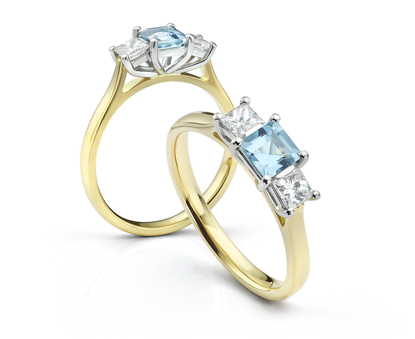 Square Aquamarine and Princess cut 3 stone diamond ring