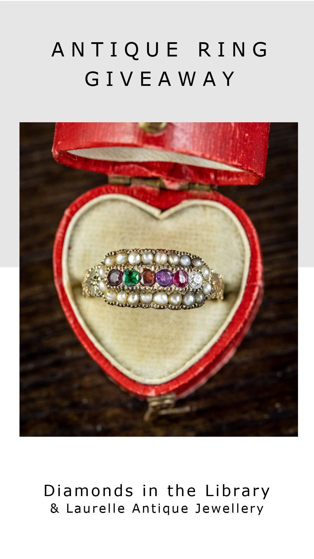 Jewelry giveaway! Win this Victorian acrostic ring from Laurelle Antique Jewellery. The gems spell REGARD.