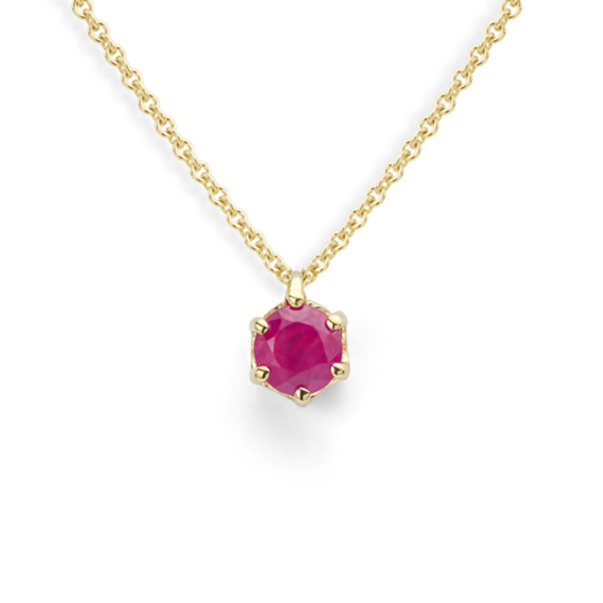Ruby solitaire necklace- July birthstone gift