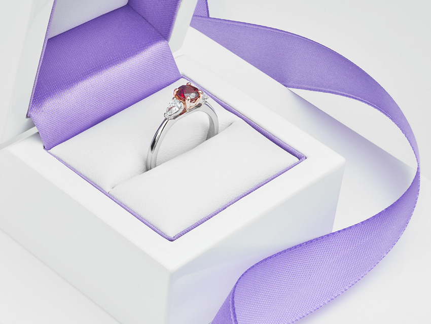 Ruby and Pear Shaped Diamond Engagement Ring for July Birthstone
