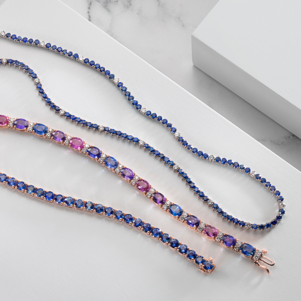 Beautiful colored sapphire and diamond jewels from the Oliver Smith Prism Collection