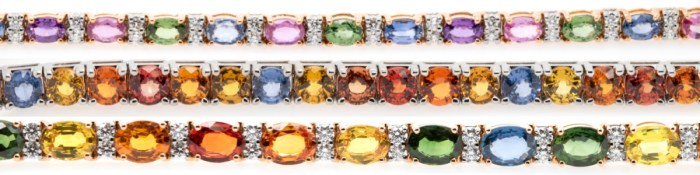 Beautiful sapphire and diamond bracelets from the Oliver Smith Prism Collection