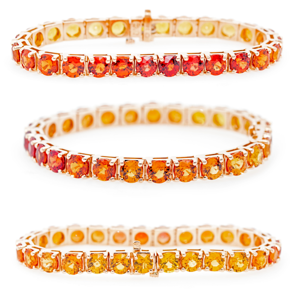 Sunset colored sapphire bracelet from the Oliver Smith Prism Collection.