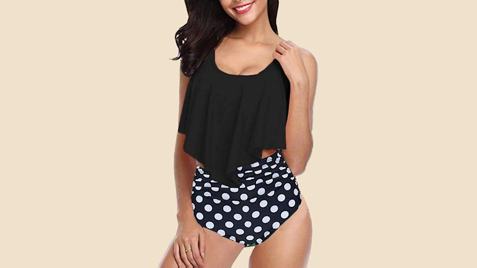 The MiYang Ruffle Hi-Waisted Bikini makes rocking a two-piece fun again! (Photo: Amazon)