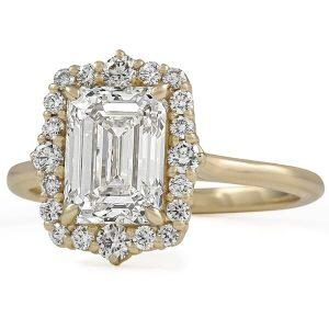 2 Carat Emerald Cut Diamond Halo Engagement Ring